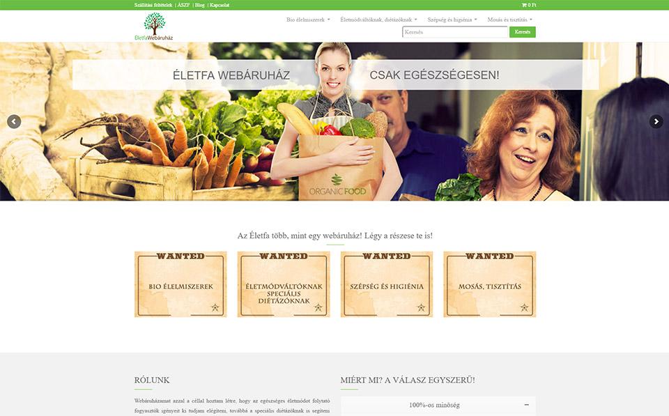 Weboldal készítés és webáruház az Életfa részére