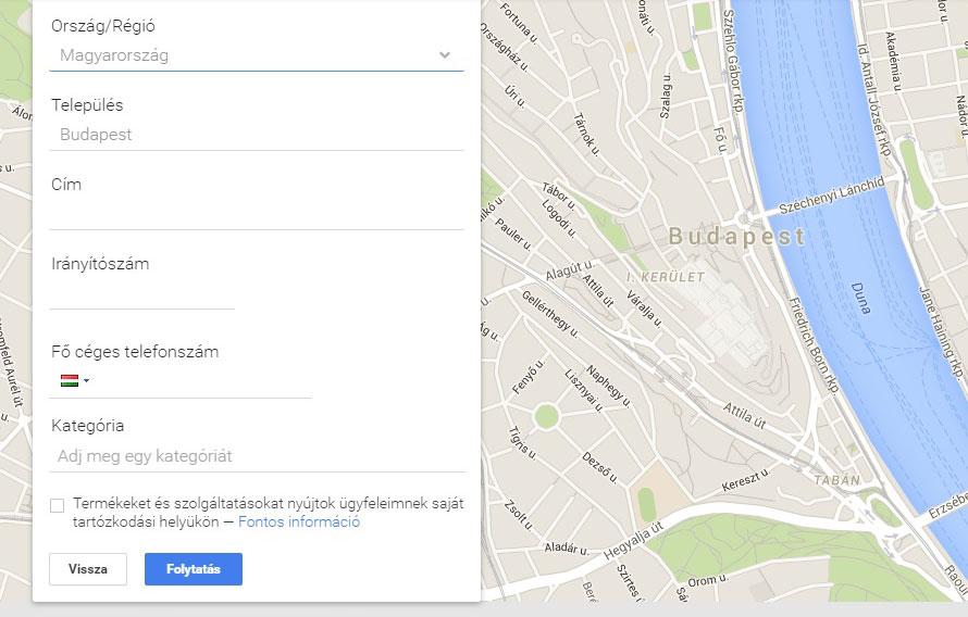 Google cégem regisztráció menete 2.