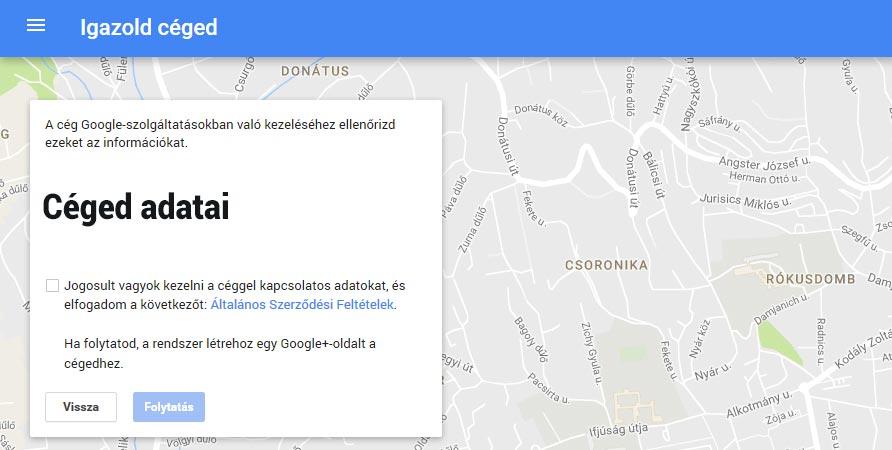 Google cégem regisztráció menete 4.