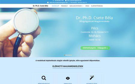 Weblapkészítés Dr. Csete Béla Bőrgyógyászati Magánrendelése Részére