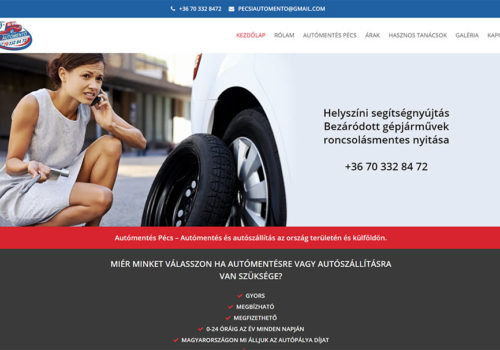 Weboldal Készítés A Pécsi Autómentő Részére