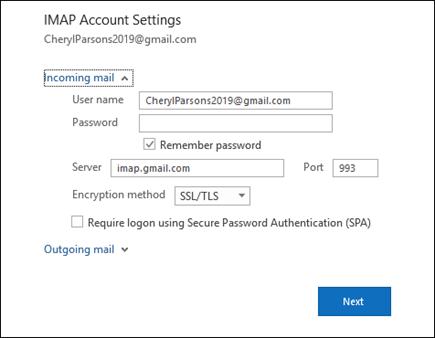 Manuális fiók hozzáadása MS Outlook